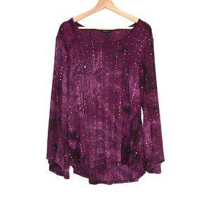 Sami & Jo plus tie dye purple sequin top boho 2x